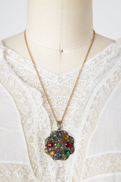 Vintage 1930s Multicolor Rhinestone Spider Web Pendant Necklace