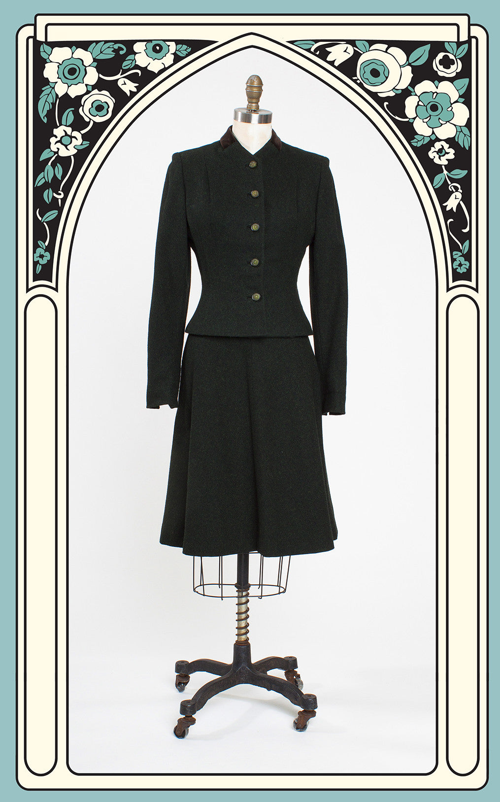 1940s Wallace Green and Black Fleck Wool Skirt Suit with Velour Collar