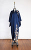SOLD -- 1950s Navy Embossed Silk Showa Kimono with Vibrant Floral Motif