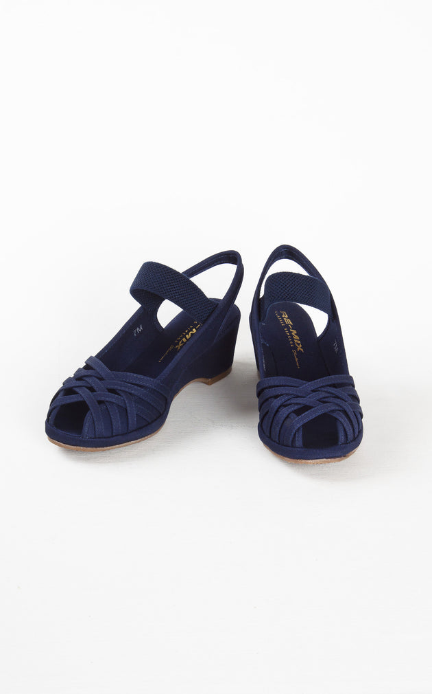 Re-Mix Vintage Shoes Penny in Navy Canvas