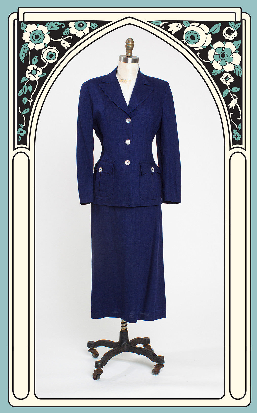 1940s Myron-Louis Irish Linen Skirt Suit