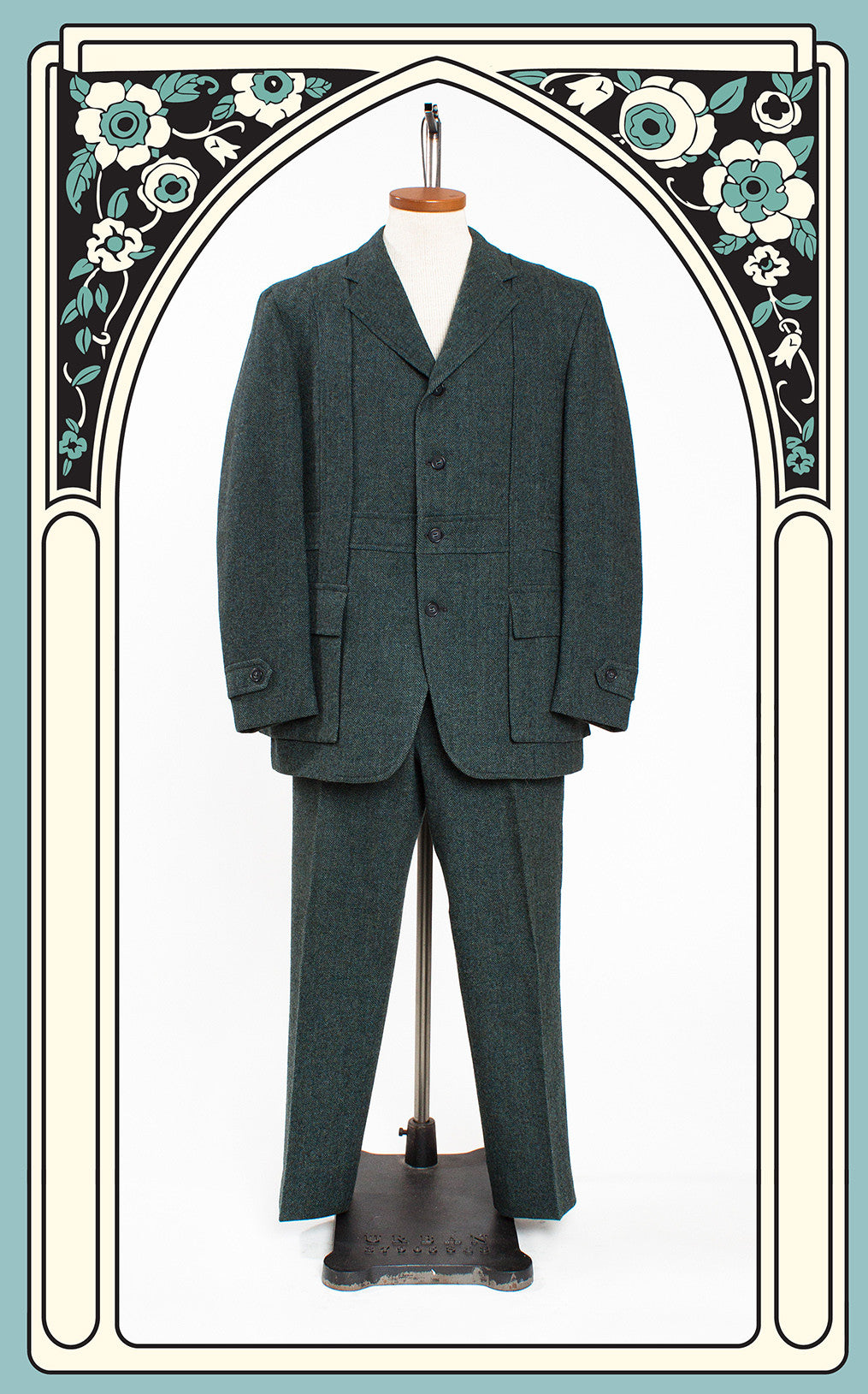 1970s Clayton's of Virginia Blue & Green Tweed Norfolk-Style Suit