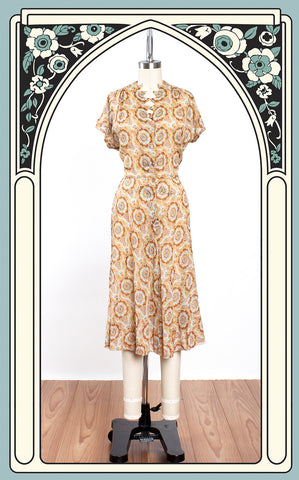 1940s Charles Hymen Sheer Cotton Paisley Dress with Pointed & Rhinestoned Neckline
