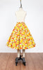 1950s Yellow & Orange Floral Half Circle Skirt