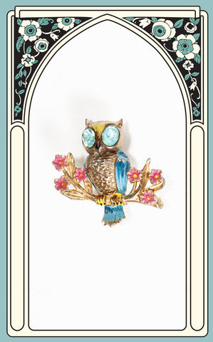 SOLD -- 1930s Coro Enamel and Rhinestone Owl Brooch