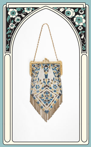 1920s Mandalian Painted Enamel Mesh Evening Bag
