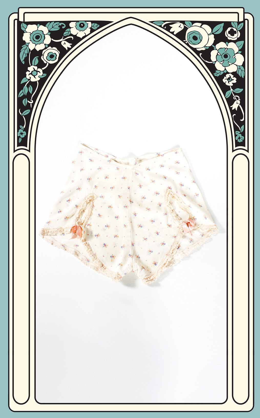 1940s Ivory Crepe Rayon Floral & Lace Panties