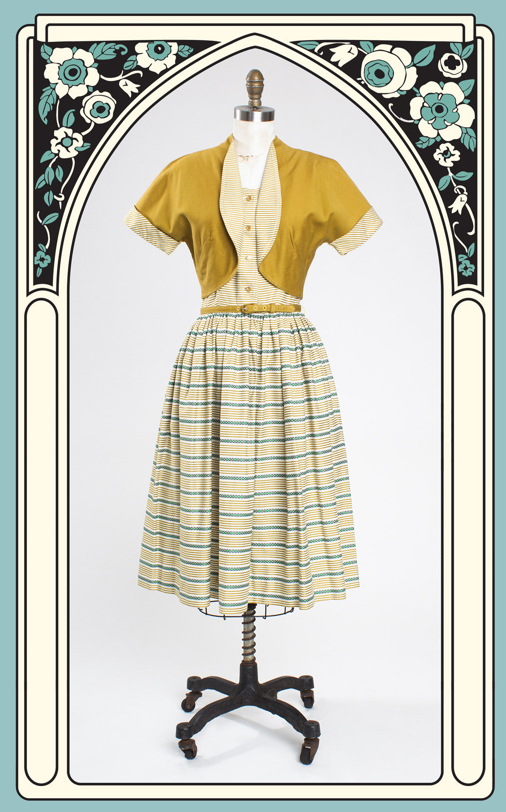 SOLD -- 1950s Pat Hartly Original Striped Day Dress with Bolero