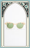 Rare 1950s Pearl & Rhinestone Cat Eye Sunglasses with Green Lenses