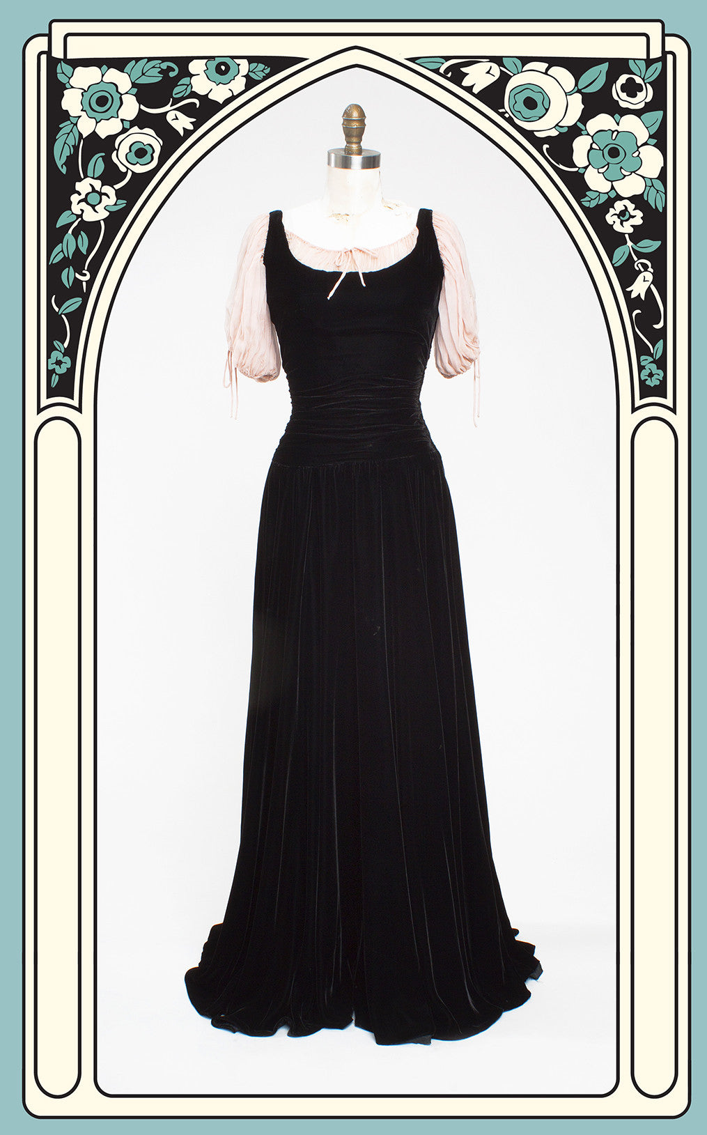 Late 1930 Silk Velvet and Chiffon Peasant Gown