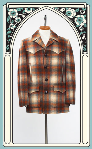 SOLD -- 1970s Men's Pendleton Western Rancher's Coat in Burnt Orange Shadow Plaid
