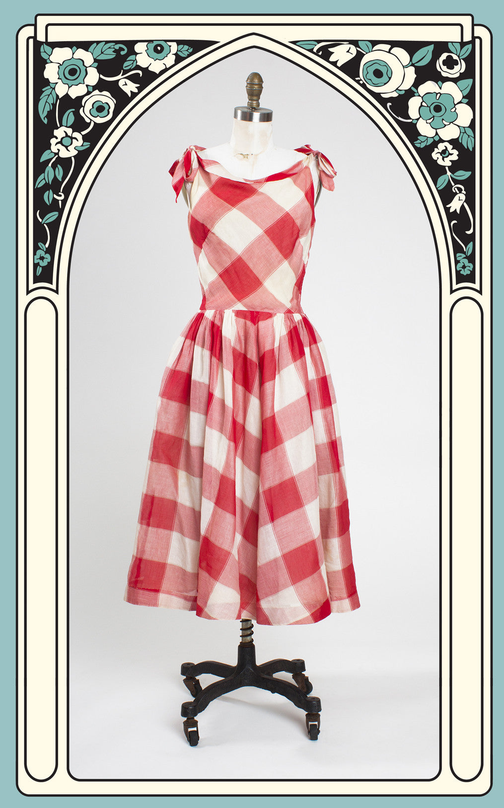SOLD -- 1950s Youth Guild of NY Red and White Summer Day Dress