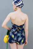 Strapless Pineapple Romper with Bow Tie Back