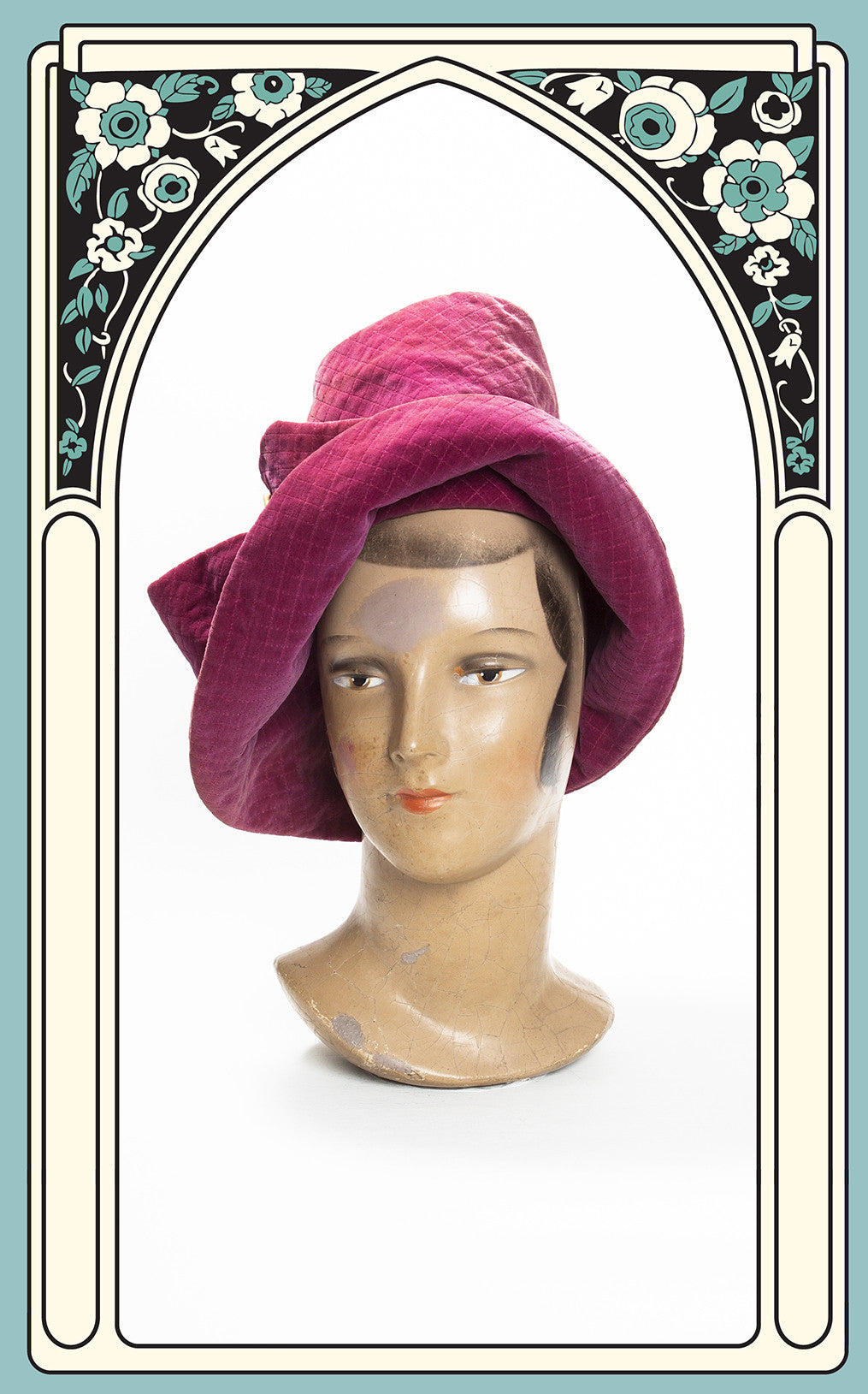 SOLD -- 1940s Styled by Nikki Quilted Fuchsia Velvet Robin Hood Slouch Hat