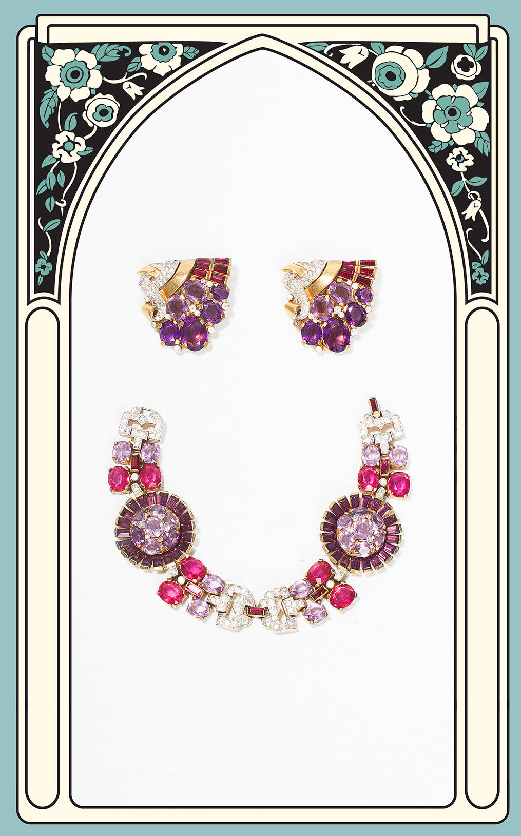 SOLD -- 1937 Crown Trifari Amethyst and Ruby Bracelet and Dress Clip Set