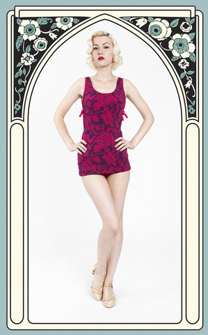 SOLD -- Early 1960s Catalina Navy & Fuchsia Floral Peekaboo Skirted Swimsuit