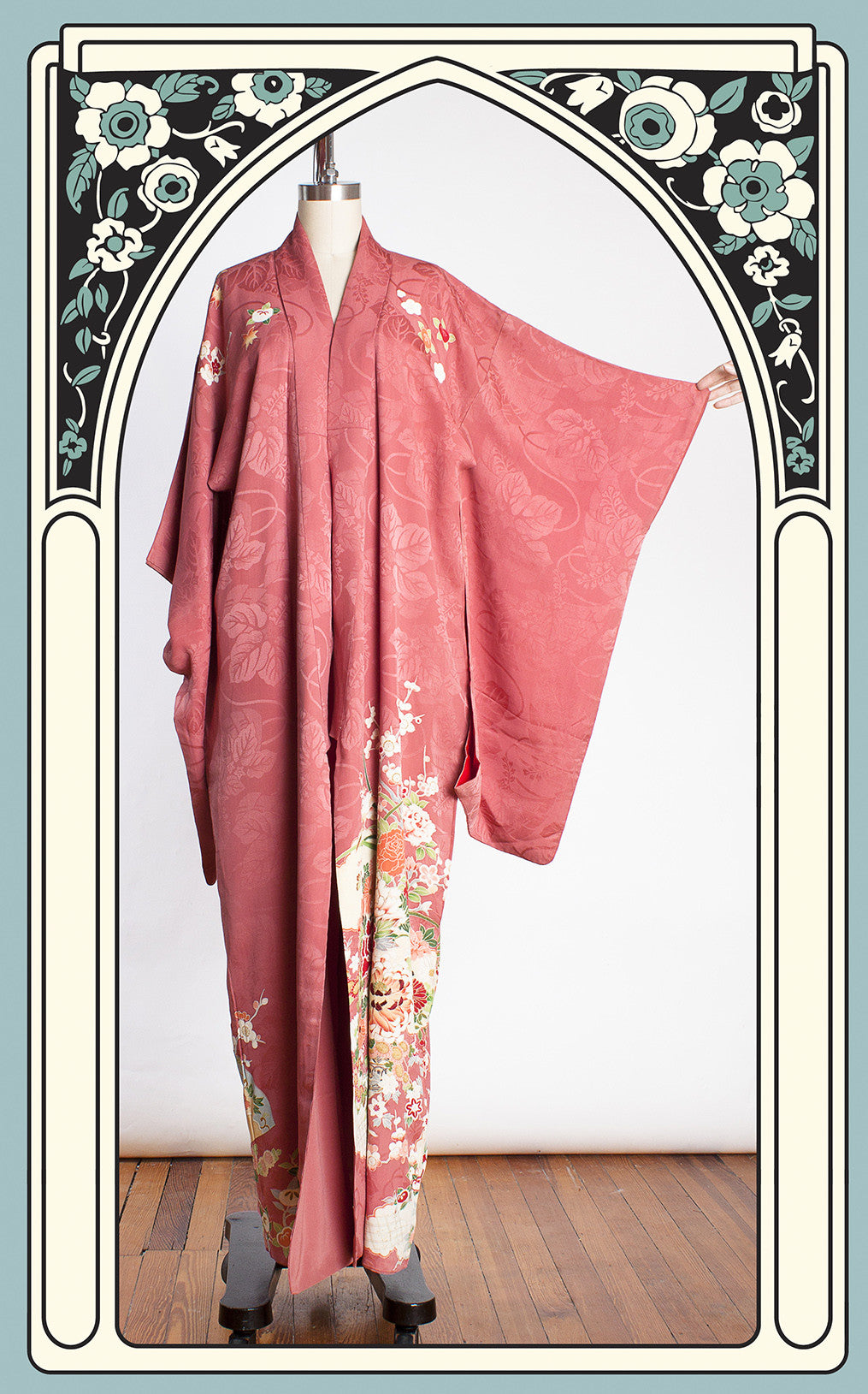 1920s Dusty Rose Silk Taisho Kimono with Beautiful Hand Painted Floral & Hand Fan Motifs