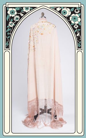 1920s Hand Embroidered Pink Silk Piano Shawl