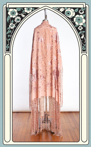 1920s Antique Rose Silk Hand Embroidered Piano Shawl