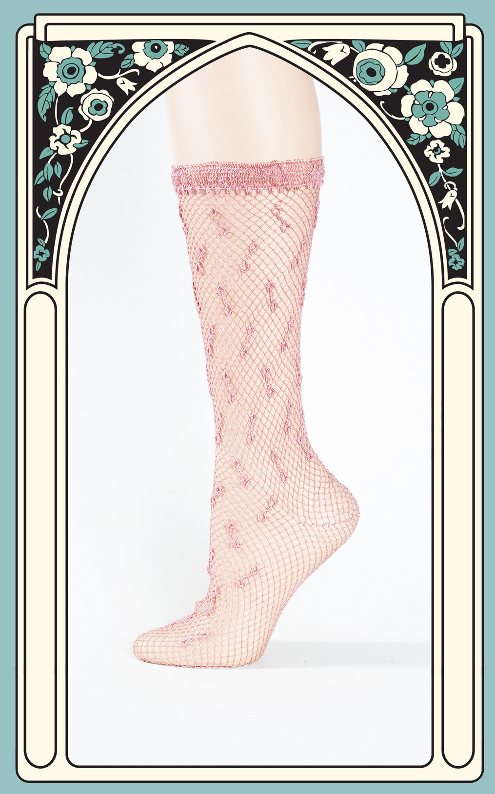 1940s Lightweight Nylon Pink Crocheted Socks