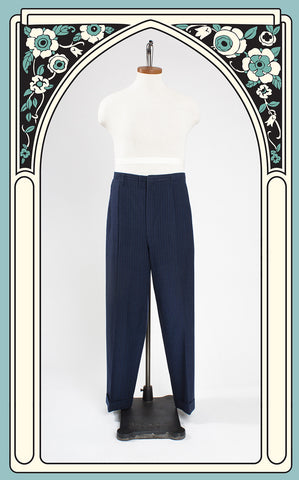 1940s Blue Wool Single-Pleat Pinstriped Trousers