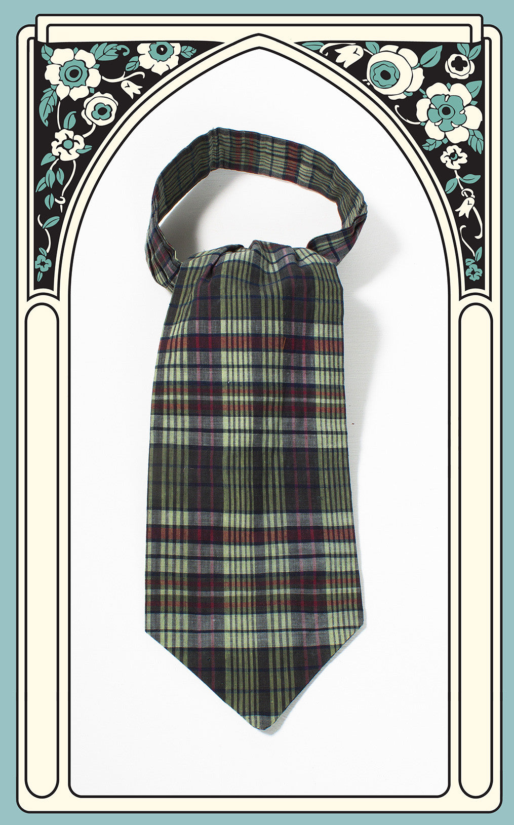 SOLD -- 1950s Green Plaid Cotton Ascot