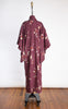 1950s Plum Silk Showa Long Sleeve Kimono with Embossed Cranes & Cherry Blossoms