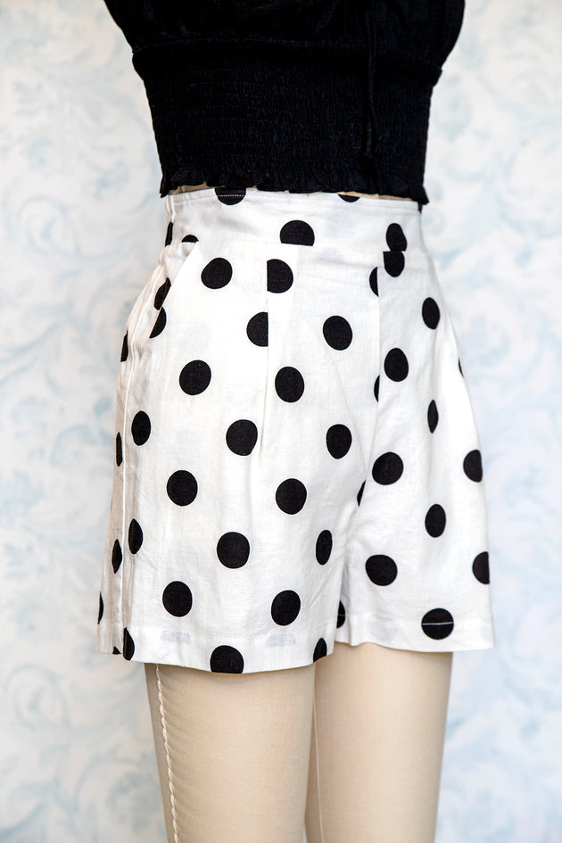 1940s Style Black and White Polka Dot High Waist Shorts