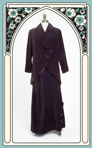Early 1910s Ruppersberger Plum Velour Corduroy Edwardian Walking Suit