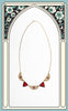 1930s Art Deco Red Czech Glass & Enamel Filigree Necklace