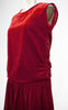 1920s Red Ruche Velvet Flapper Dress with Gold Lame & Ombre Ribbon Work