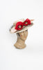 1940s Straw & Horsehair Open Crown Hat with Red Poppies
