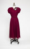 SOLD -- 1940s Hollywood Starlet Grovine Creation Beaded Wine Lace Cocktail Dress