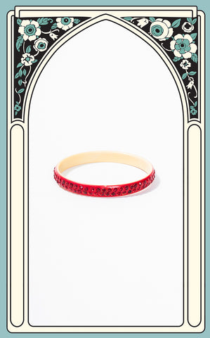 1920s Art Deco Celluloid and Red Paste Bangle