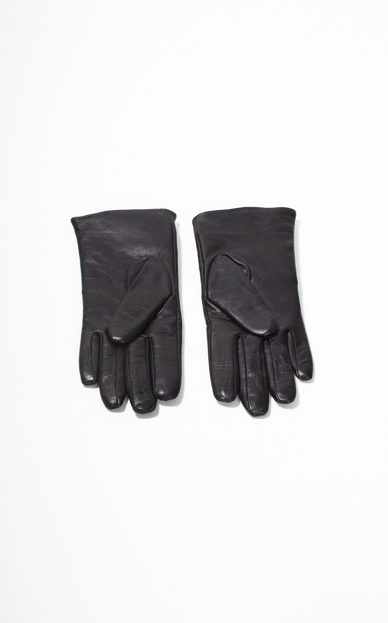 Black leather gloves buttons - Ladies Reproduction Black Grey 3 Button Leather Gloves