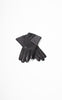 Ladies Reproduction Black & Grey 3-Button Leather Gloves