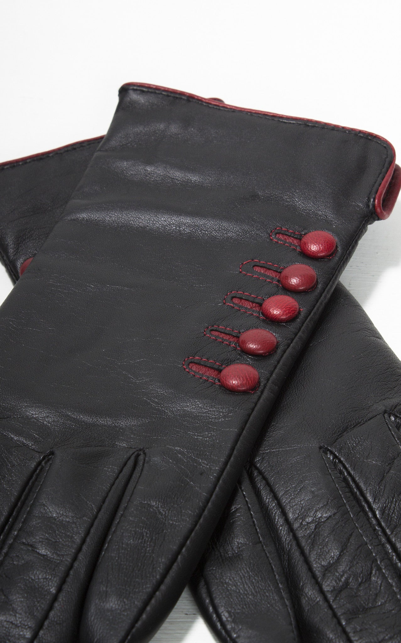 Black leather gloves buttons - Ladies Reproduction Black Red 5 Button Cashmere Lined Leather Gloves
