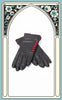 Ladies Reproduction Black & Red 5-Button Cashmere Lined Leather Gloves