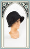 1920s Style Wool Cloche with Bow in Black