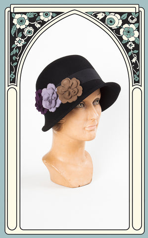 1920s Style Country Garden Wool Cloche in Black
