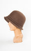 1920s Style Wool Cloche with Bow in Brown