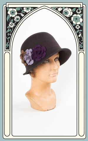 1920s Style Country Garden Wool Cloche in Chocolate