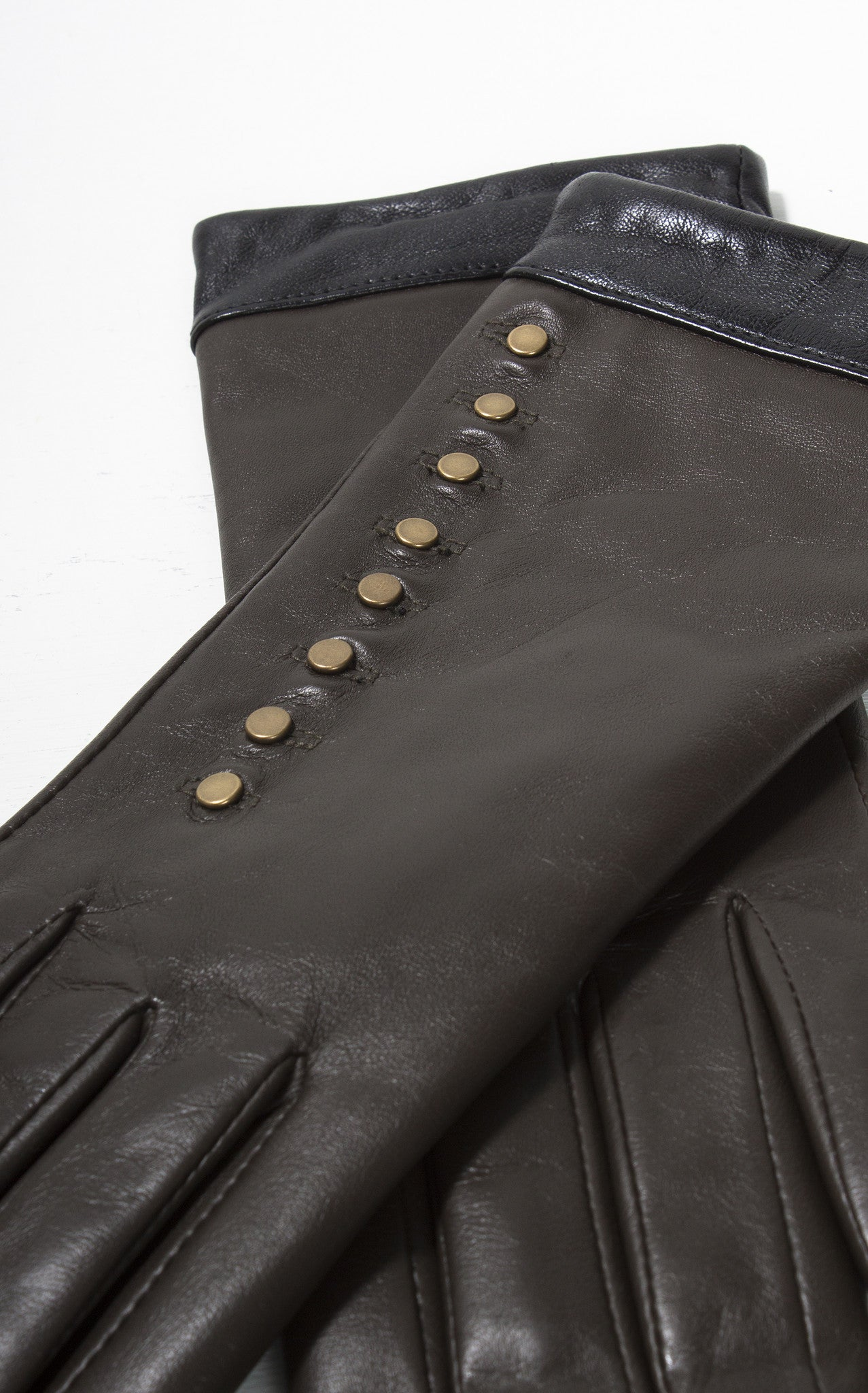 Black leather gloves buttons - Ladies Reproduction Chocolate Brown Black Brass Button Leather Gloves