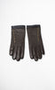 Ladies Reproduction Chocolate Brown & Black Brass Button Leather Gloves