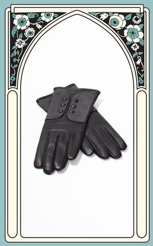 Ladies Reproduction Black & Grey 6-Button Leather Gloves