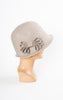 1920s Style Wool Cloche with Bow in Putty