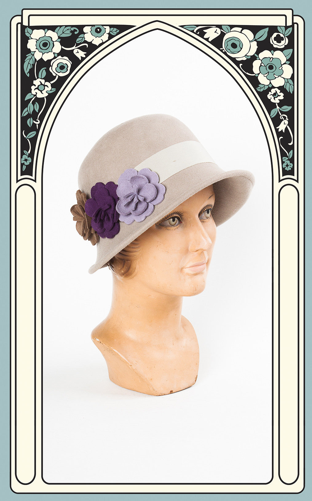 1920s Style Country Garden Wool Cloche in Putty
