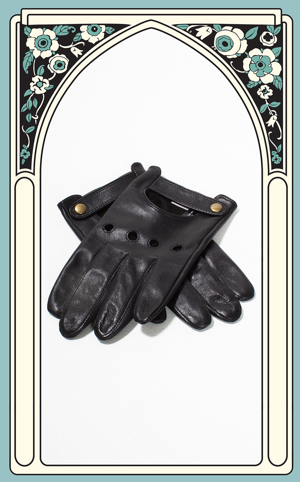 Men's Reproduction Black Leather Driving Gloves