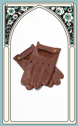 Men's Reproduction Brown Leather Driving Gloves