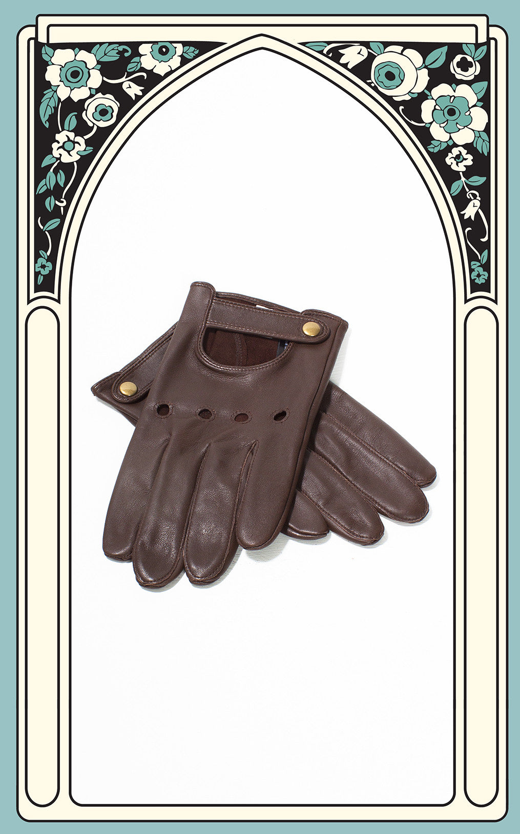 Men's Reproduction Chocolate Brown Leather Driving Gloves